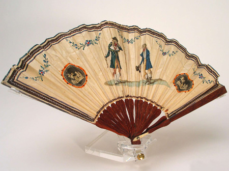 Paper fan decorated with one of the most famous fashion caricatures of the late 1790s: Les Incroyables by Carle Vernet. Photo: Nordic Museum, Sweden